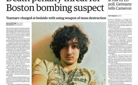Johar Tsarnaev prima pagina guardian