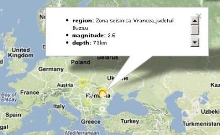 Cutremur cu magnitudinea de 3,8, inregistrat joi la 20:12, in zona Vrancea