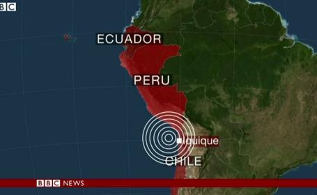 CUTREMUR de 8,2 in Chile: cinci oameni au murit. Alertele de tsunami pentru Honduras, Peru, Ecuador si Chile, ridicate