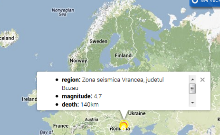 Cutremur cu magnitudinea de 4,7, la ora 15:38, cu epicentrul in judetul Buzau