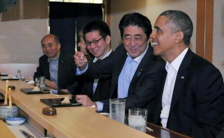 Sushi la nivel inalt. Obama putea declansa un incident diplomatic pentru ca nu a mancat tot la cina cu premierul Japoniei