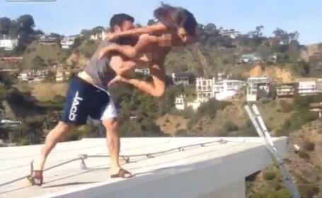 O actrita din filmele pentru adulti s-a lasat aruncata de pe acoperisul unei vile: \