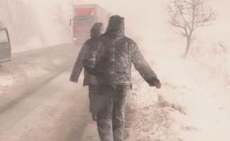 Viscol teribil in nordul Romaniei. Zeci de soferi au ramas blocati in trafic din cauza zapezii: \