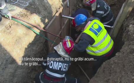 Accident pe un santier din Arges. Un muncitor a fost prins sub tone de pamant, dupa ce malul s-a surpat