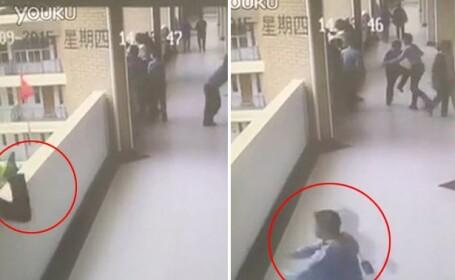 Incident socant intr-o scoala din China. Camerele VIDEO au inregistrat momentul cand un copil sare de la balcon