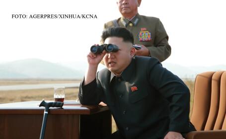 Kim Jong Un se uita prin binoclu FOTO AGERPRES