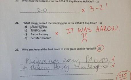 Testul inedit pe care un suporter Arsenal i l-a dat iubitei sale pentru a stabili viitorul relatiei lor. Scorul obtinut de ea