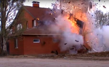 Momentul in care serviciile secrete rusesti arunca in aer o casa de rugaciune a ISIS. VIDEO. Ce era interiorul cladirii