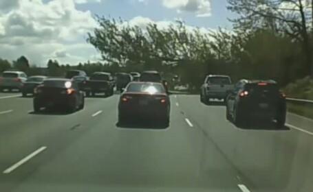 Incident grav pe o autostrada din statul american Washington. Un copac s-a prabusit peste o masina aflata in mers