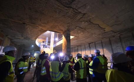 Vizita de presa pentru prezentarea stadiului lucarilor la Magistrala 5 de metrou; in imagine: statia Parc Drumul Tabere