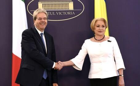 Vizita in Romania a presedintelui Consiliului de Ministri al Republicii Italiene, Paolo Gentiloni; intalnire cu premierul Viorica Dancila, la Palatul Victoria