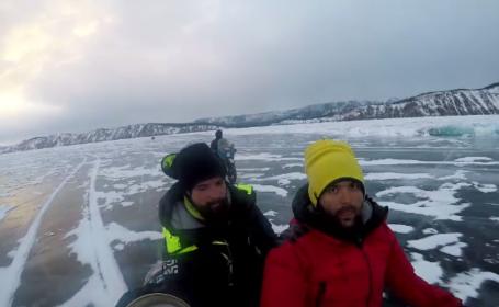 Cursă pe gheață, încheiată cu succes de doi români pe lacul Baikal la -30 de grade