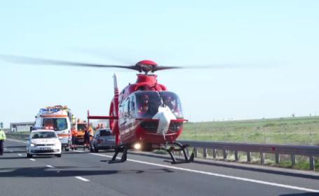 Accident pe A1, cu un mort și 4 răniți. Tinerii se duceau la un concurs automobilistic
