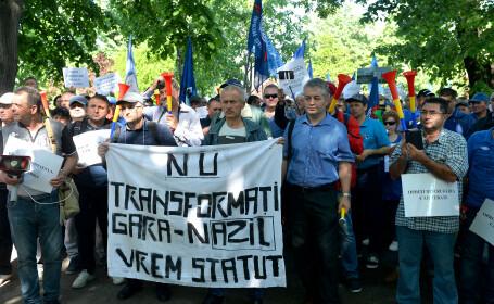 Proteste ale sindicaliștilor feroviari. Ceferiștii amenință cu greva generală