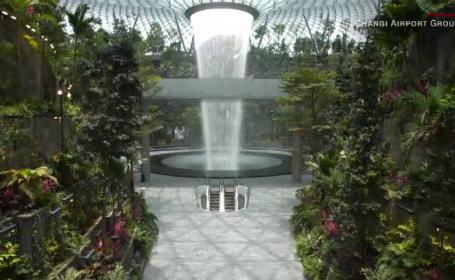 Cascadă înaltă de 40 de metri în interiorul aeroportului din Singapore