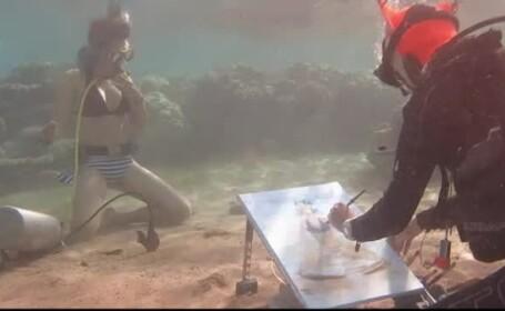 """O rusoaică pictează sub apă, chiar și la 30 de metri adâncime: """"Simt că meditez"""""""
