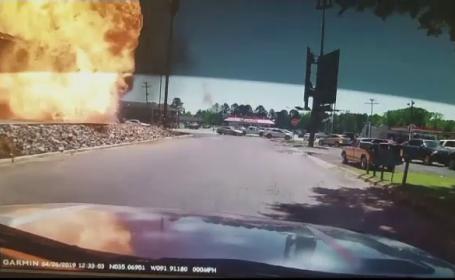 Momentul în care un camion explodează în parcare. Imagini demne de un fim de acțiune