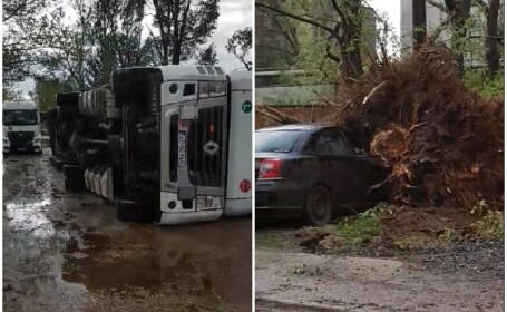 Bilanțul fenomenelor meteo extreme: 7 mașini și 24 de acoperișuri au fost avariate