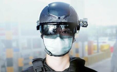Polițiști dotați cu căști inteligente, care pot analiza temperatura a sute de persoane în fiecare minut