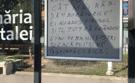 Mesaj rasist, scris într-o staţie de autobuz dintr-un cartier select din București