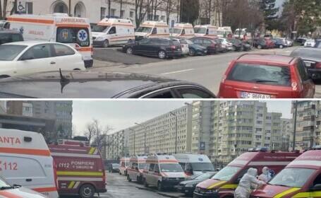"""Imagine cu ambulanţe aşteptând la rând, la Spitalul de Boli Infecţioase Braşov. Medic: """"Situaţia este foarte gravă"""""""
