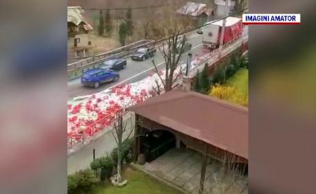 Drum inundat de bere, în Prahova. Cum a fost posibil