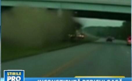 Accident filmat de politie: a plonjat cu masina si s-a facut praf de un pod