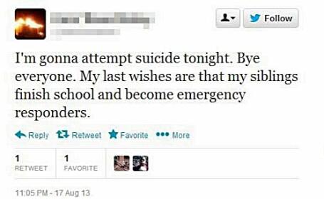 Sinucidere anuntata pe Twitter