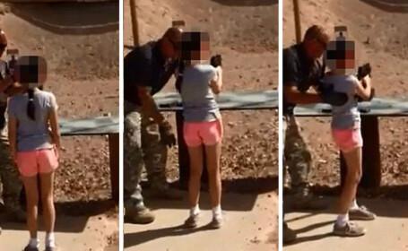 Momentul in care o fetita de noua ani isi impusca instructorul care o invata sa traga cu un Uzi. VIDEO