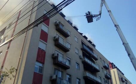 Imagini de la incendiul care a dus la evacuarea unui bloc din Capitala. A fost nevoie de interventie a 9 autospeciale
