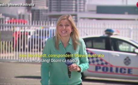 Reactia unei prezentatoare din Australia dupa ce a fost muscata in direct de o \