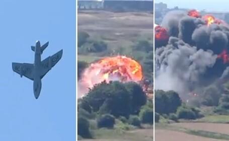 Sapte morti dupa ce un avion s-a prabusit peste cateva masini la un show in Anglia. Impactul, urmat de o explozie. VIDEO