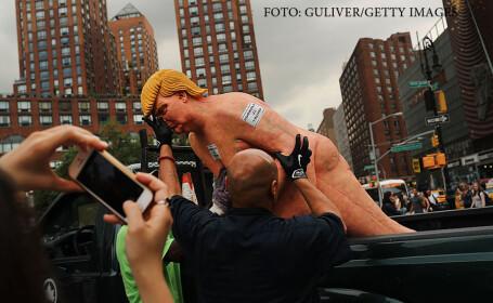 Statui cu Donald Trump complet gol au aparut in marile orase americane. Reactia unui primar: \