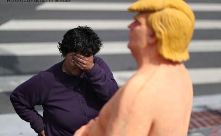 O statuie reprezentandu-l pe Donald Trump dezbracat a fost instalata de activisti in Union Square din New York, ca protest