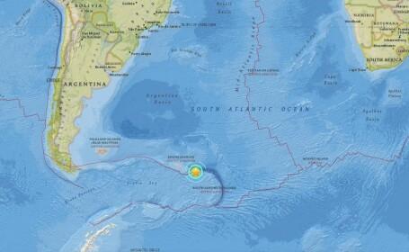 Cutremur cu magnitudinea de 7,4, in oceanul Atlantic. Seismul s-a produs in preajma insulelor Georgia de Sud