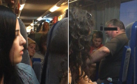 tren, incident, facebook, sărut