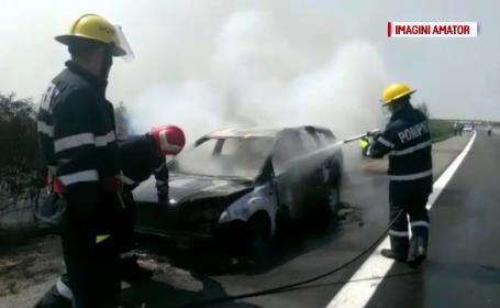 Mașină făcută scump pe autostrada București-Pitești
