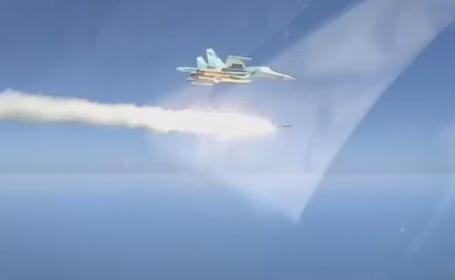 Momentul în care un avion rusesc spulberă o navă cu o rachetă supersonică. VIDEO