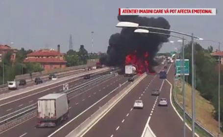 O cameră de supraveghere a poliţiei a surprins momentul teribilului accident din Italia