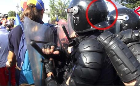 Jandarmi acuzați că ar fi ascuns indicativul de pe cască cu bandă adezivă neagră
