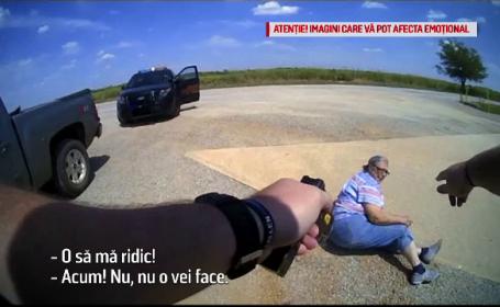 Momentul în care o bătrână este pusă la pământ şi electrocutată de un poliţist