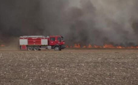 Incendiu de vegetație masiv în Ploiești. Localnicii cred că a pornit de la un tren
