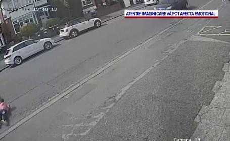 VIDEO. Momentul în care o fetiță e spulberată de o mașină, filmat de camere de supraveghere