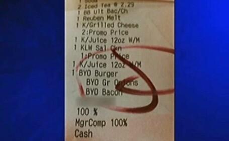 Nota de plata primita de o familie in restaurantul numit \