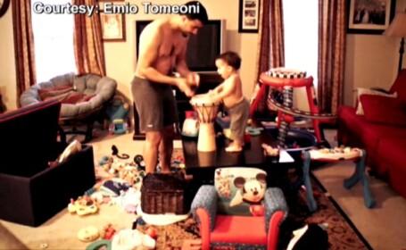 VIDEO. Ce fac un tata si fiul acestuia cand raman singuri acasa. Mama, impresionata de imagini