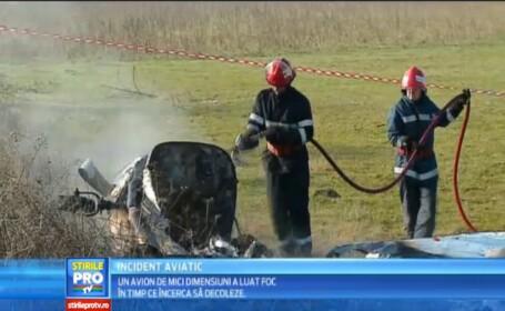 Un avion de mici dimensiuni a luat foc in timp ce incerca sa decoleze