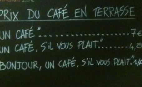 Cafeneaua care taxeaza in plus clientii nepoliticosi. Daca mergeti la Nisa, sa spuneti \