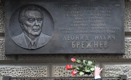 O placa dedicata memoriei lui Brejnev, unul din liderii URSS, a fost inaugurata in centrul Moscovei