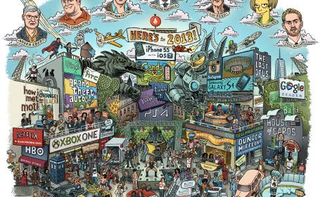 Detaliile din spatele desenului care cuprinde toate evenimentele majore din 2013