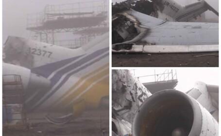Scene apocaliptice pe aeroportul din Donetk dupa confruntarile dintre armata si rebeli. Intreaga zona e devastata. VIDEO